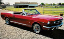 Picture red convertible 1966 mustang  side view